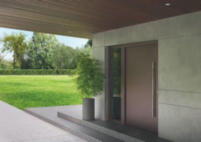 Porte d'entrée pour villa en aluminium de marque Hörmann
