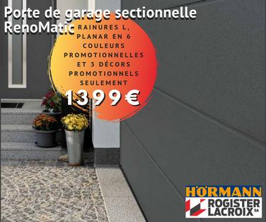 Promotion sur les portes de garage sectionnelles Hörmann chez Rogister-Lacroix
