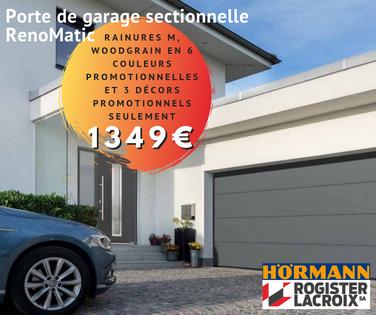 Portes de garage Hörmann sectionnelles en promotion chez Rogister-Lacroix à Liège